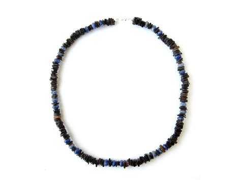 ol blue gemstone and shell surfer necklace