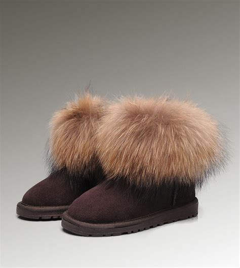 fur ugg boots ugg mini fox fur 5854 chocolate boots cheap ugg fox fur