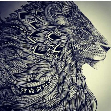 lion mandala tattoo mandala black and grey hair