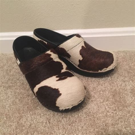 Cowhide Clogs - 54 sanita shoes sanita pony hair cow print clogs