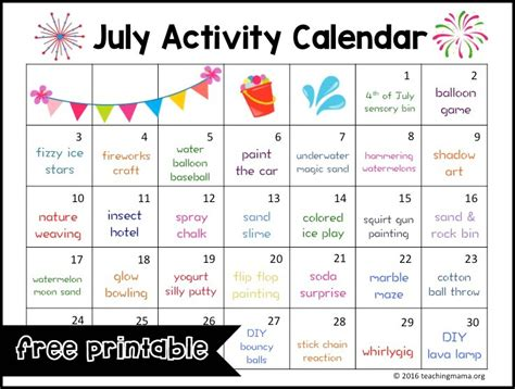 printable calendar activities july activity calendar
