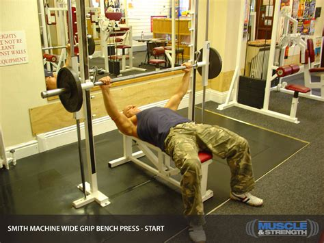 guided bench press machine smith machine wide grip bench press video exercise guide