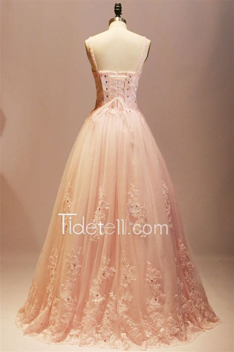 elegant ball gown straps long tulle prom dress with lace