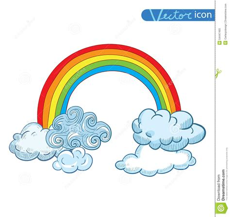 rainbow doodle drawing doodle clouds and rainbow vector stock vector
