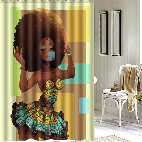 african shower curtain 150x180cm african girl women bathroom waterproof printed