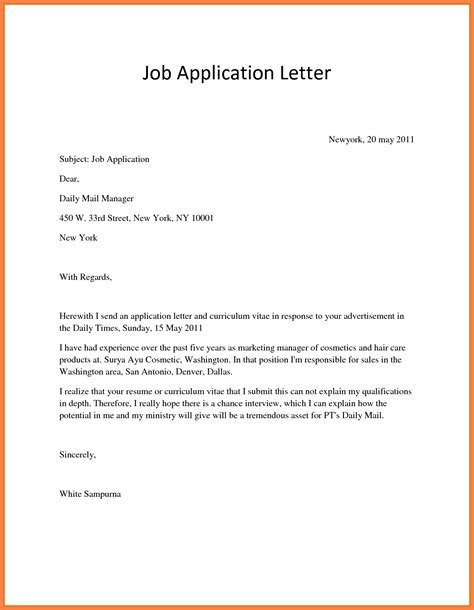 What Is A Covering Letter When Applying For A by 10 Application Letter For Employment Exle Bussines