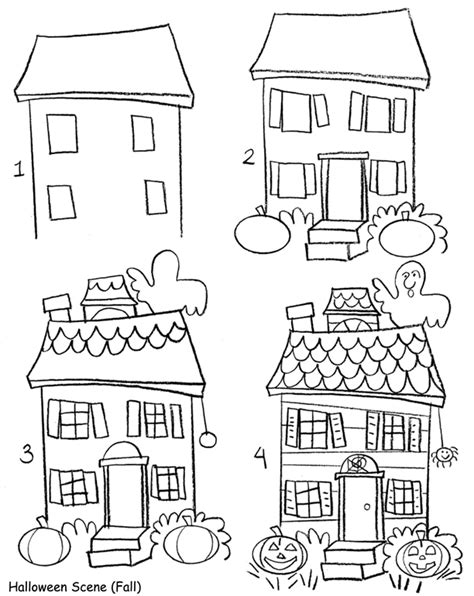 how to draw a haunted house how to draw holiday pictures