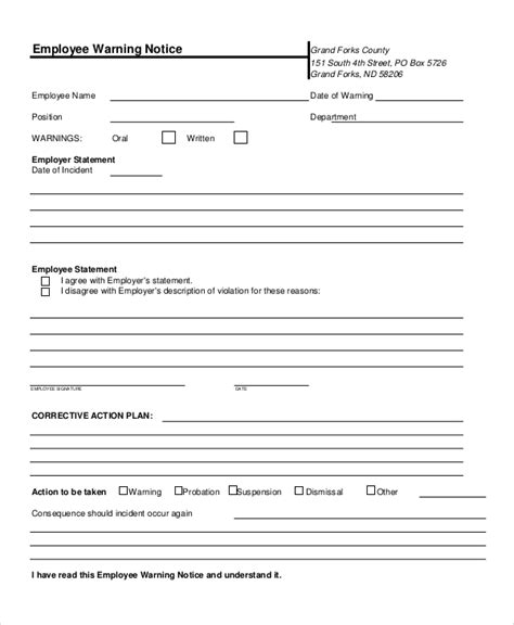 employee warning notice template sle employee warning notice 9 exles in pdf word