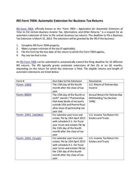 Evaluation Letter Of Extension Irs Form 7004 Automatic Extension For Business Tax Returns