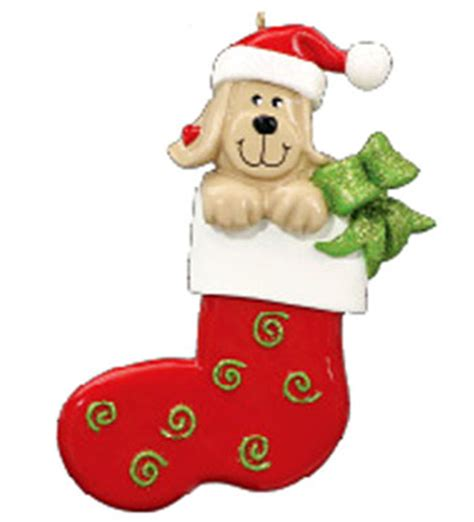 dog in stocking personalized christmas ornament