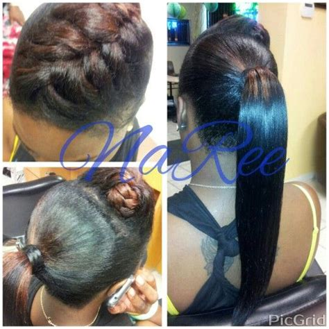 pics of weave styles tied back fish tail hump invisible ponytail hairstyles styleseat