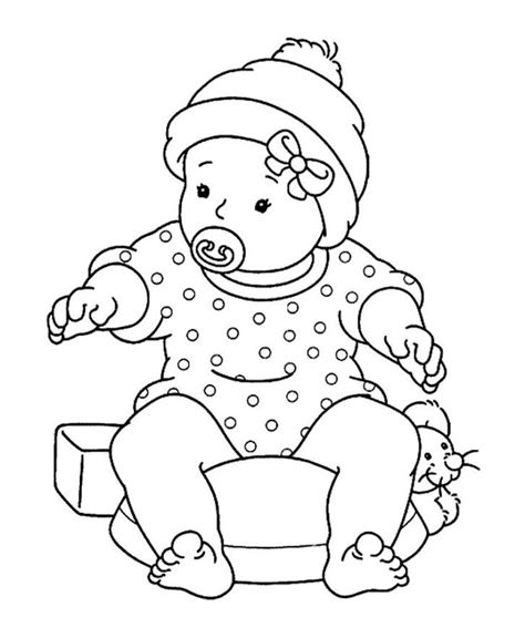 baby girl sitting with pacifier coloring pages