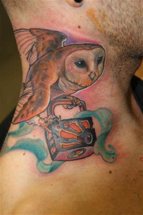 tattoo new school neck new school neck owl lock tattoo by victor chil