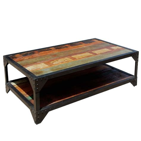 industrial wrought iron reclaimed wood 2 tier coffee table