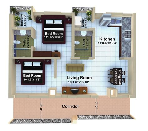 2bhk house plans floor plans