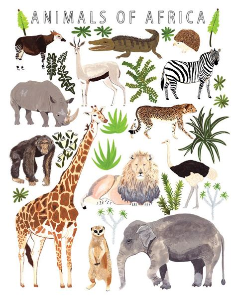 printable animal art african animals print