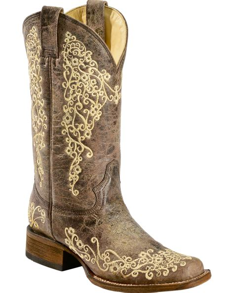 corral brown crater embroidered boots square toe