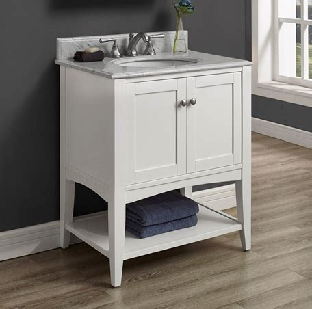 Bathroom Vanity Open Shelf Shaker Americana 30 Quot Open Shelf Vanity Polar White Fairmont Designs Fairmont Designs