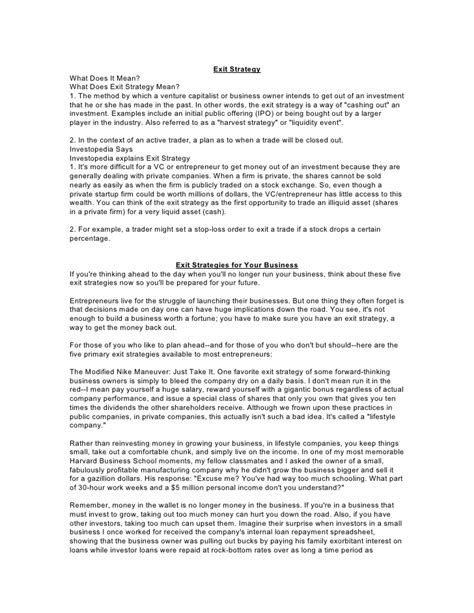 business exit strategy template exit strategy business plan exle search results