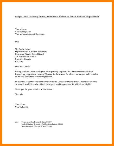 application letter absent college 6 application for leave of absence from school time