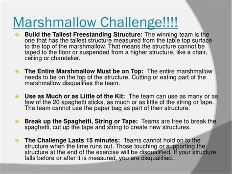 marshmallow challenge instructions ppt marshmallow challenge powerpoint presentation
