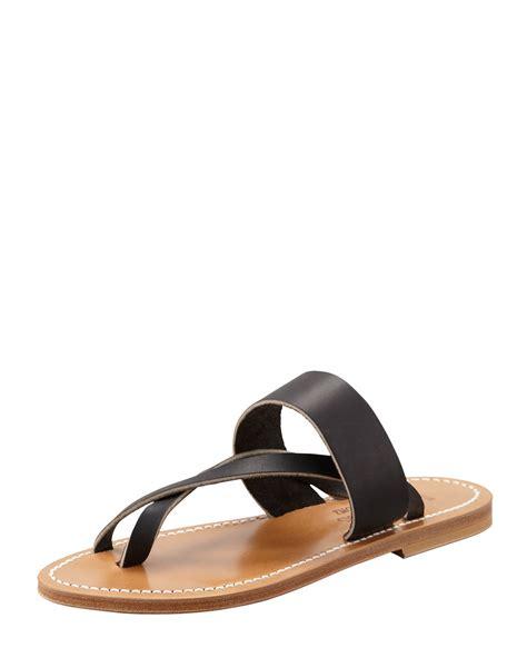 black sandals flat k jacques nehru crisscross toe ring flat sandal in black