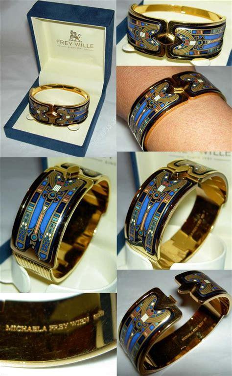 Authentic MICHAELA FREY Wille Egyptian Nefertiti 24K Enamel Royal Bangle NIB   eBay