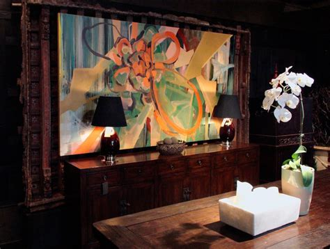 installation view of large scale abstract painting contemporary dining room chicago