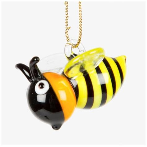 Bee Decorations by Bumble Bee Glass Hanging Decoration By Pink Pineapple Home Gifts Notonthehighstreet