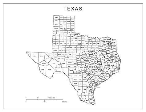 map of texas county texas labeled map