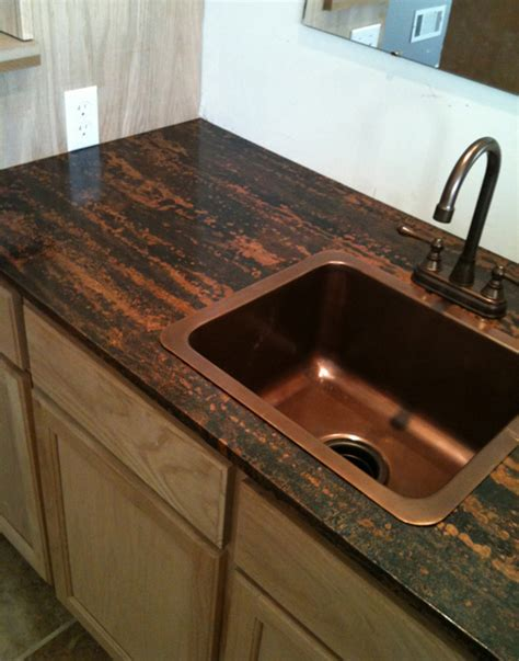 Painted Kitchen Cabinets by Copper Counter Tops Copper Countertop