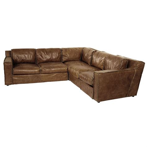 Corner Sofa In Leather 4 Seater Leather Vintage Corner Sofa In Colour Morrison Maisons Du Monde
