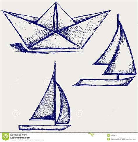 doodlebug boat origami paper ship and sailboat sailing stock vector
