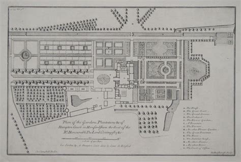 hton court palace floor plan plan of the gardens plantations c of hton court in
