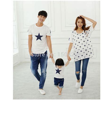 2015 summer star print family 100 cotton set dad mom baby clothes set white family set jpg