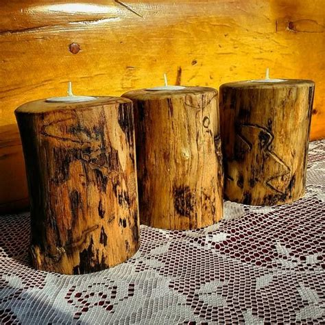 rustic wood candle holder rustic wedding centerpieces