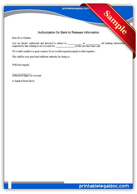 authorization letter for bank to release information free printable authorization for bank to release