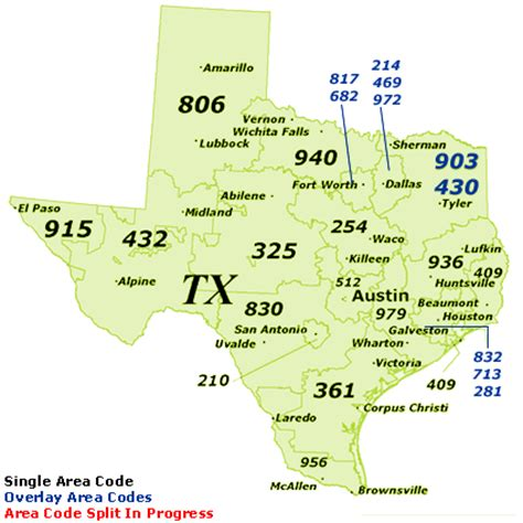 map of texas area codes texas area code map images