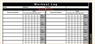 printable workout logs fitness and bodybuilding workouts