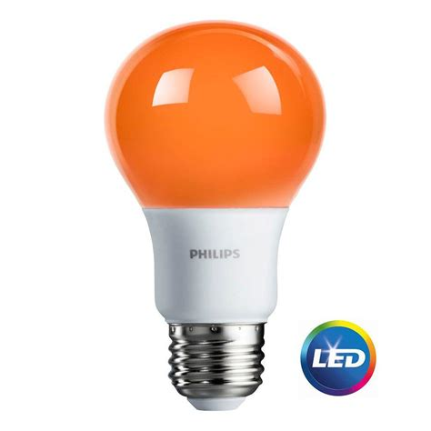 Philips 60w Equivalent Orange A19 Led Light Bulb 463232 100 Watt Equivalent Led Light Bulbs For Home