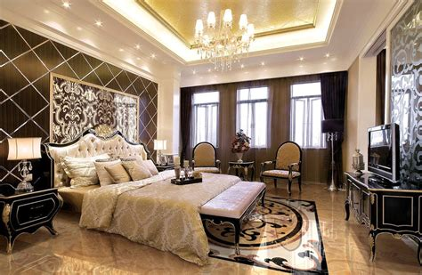 european bedroom european style luxury bedroom with yellow ceiling 3d