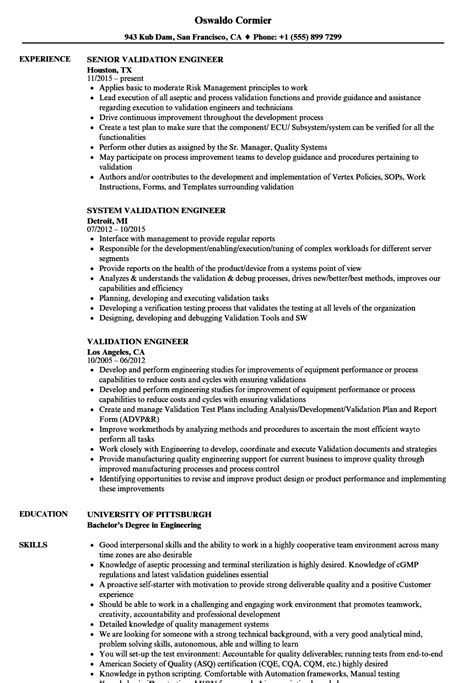 Validation Engineer Resume by Validation Engineer Resume Sles Velvet