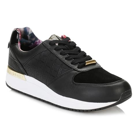 Teds Casual ted baker womens trainers black lwoire 3 lace up sport