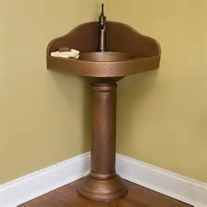 corner pedestal sinks for bathrooms hammered copper corner pedestal sink contemporary