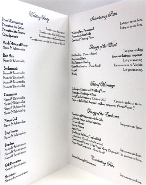 catholic mass wedding program template catholic wedding program idea clean and simple layout