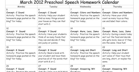 homework calendar template east speech march preschool speech homework