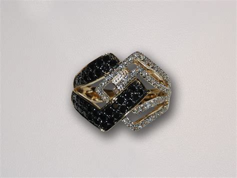 yellow gold ring white rings black diamonds