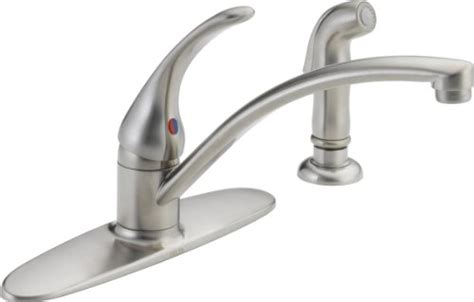 delta foundations 2 handle standard kitchen faucet with side sprayer in chrome 21988lf the delta foundations 2 handle kitchen faucet chrome