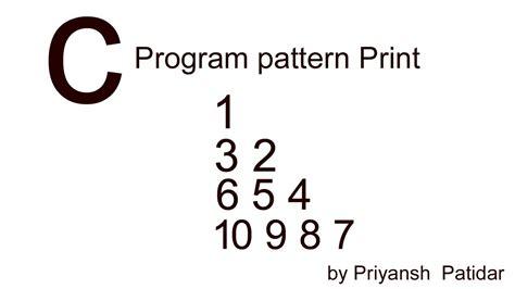 pattern related c programs c program pattern print youtube