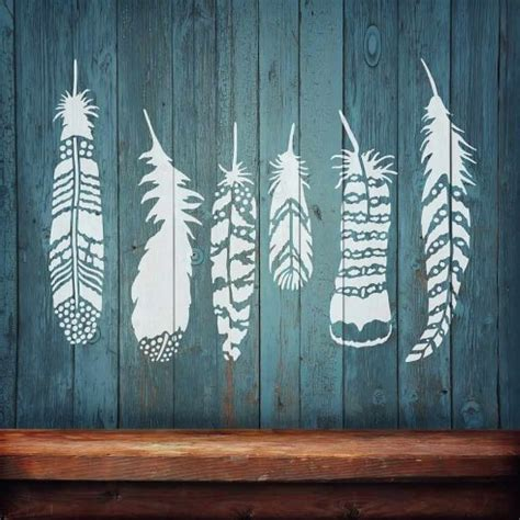 Wall Mural Stencil Kits feather stencils boho feathers indian tribal feather
